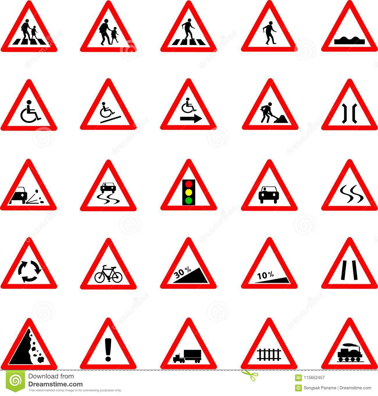 Triangle Traffic And Road Sign Set Stock Vector Illustration Of