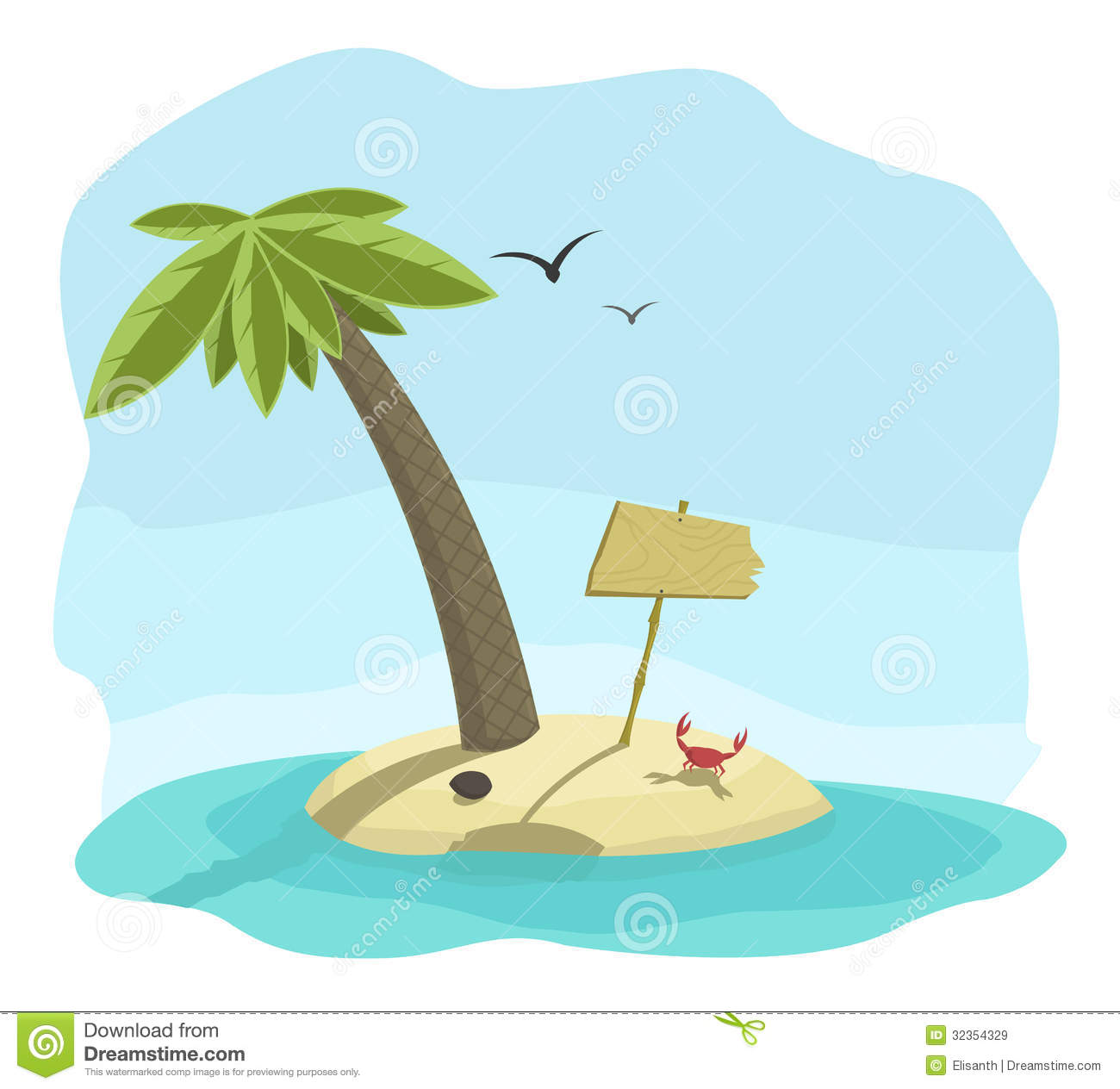Vector Illustration Of Tropical Island With Signbo Royalty Free Stock ...