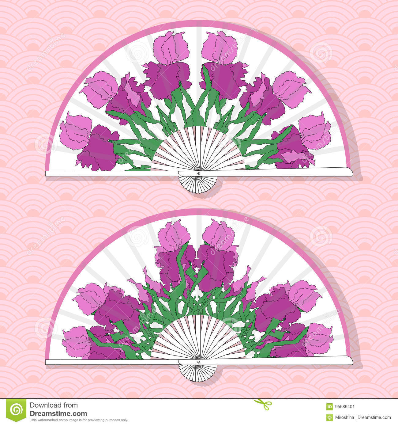 Vector Illustration Of Two Asian Folding Paper Fans Stock Vector