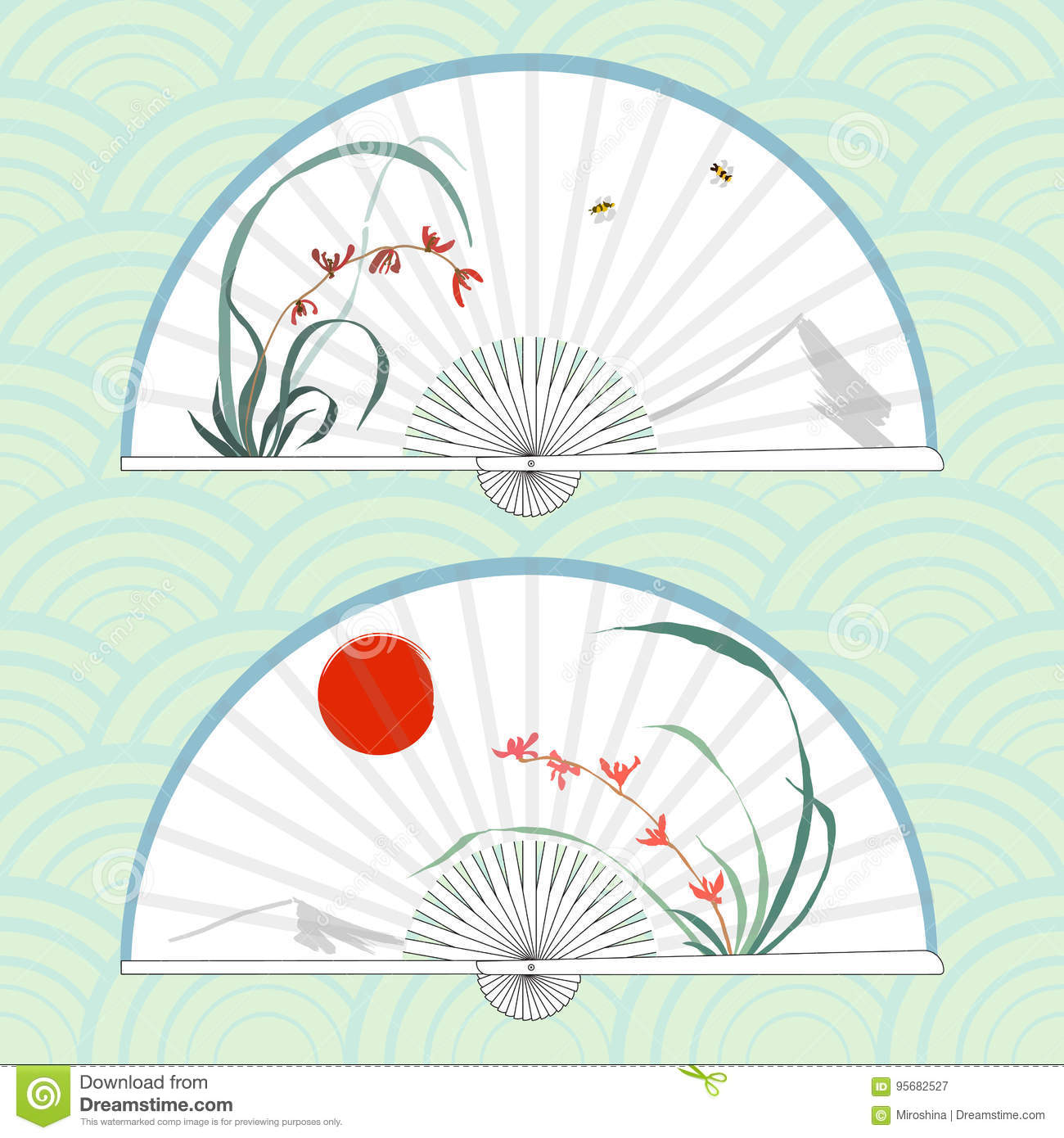 Asian style hand fans sample videos