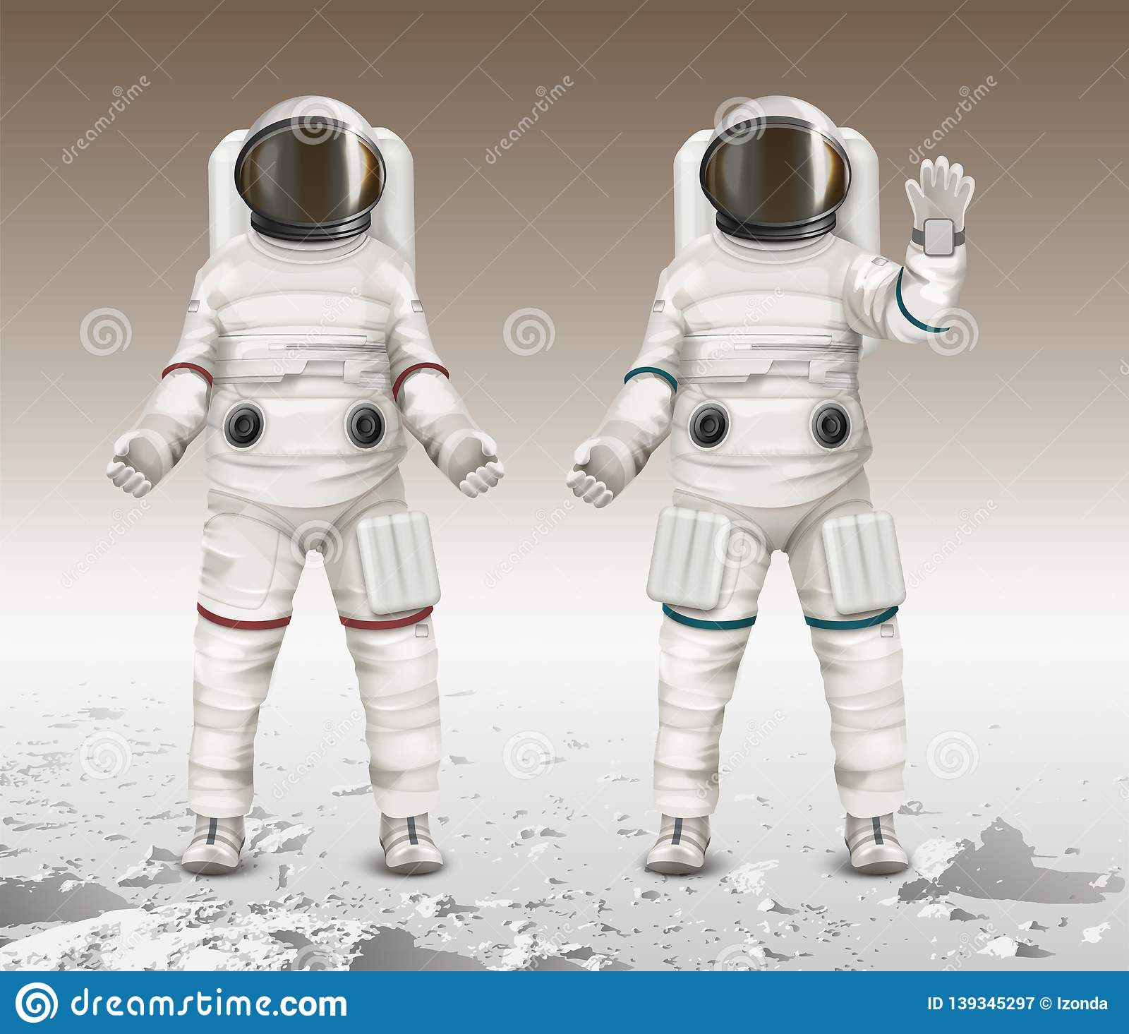 Vector illustration of two astronauts wearing space suits and walk exploring mars on moon