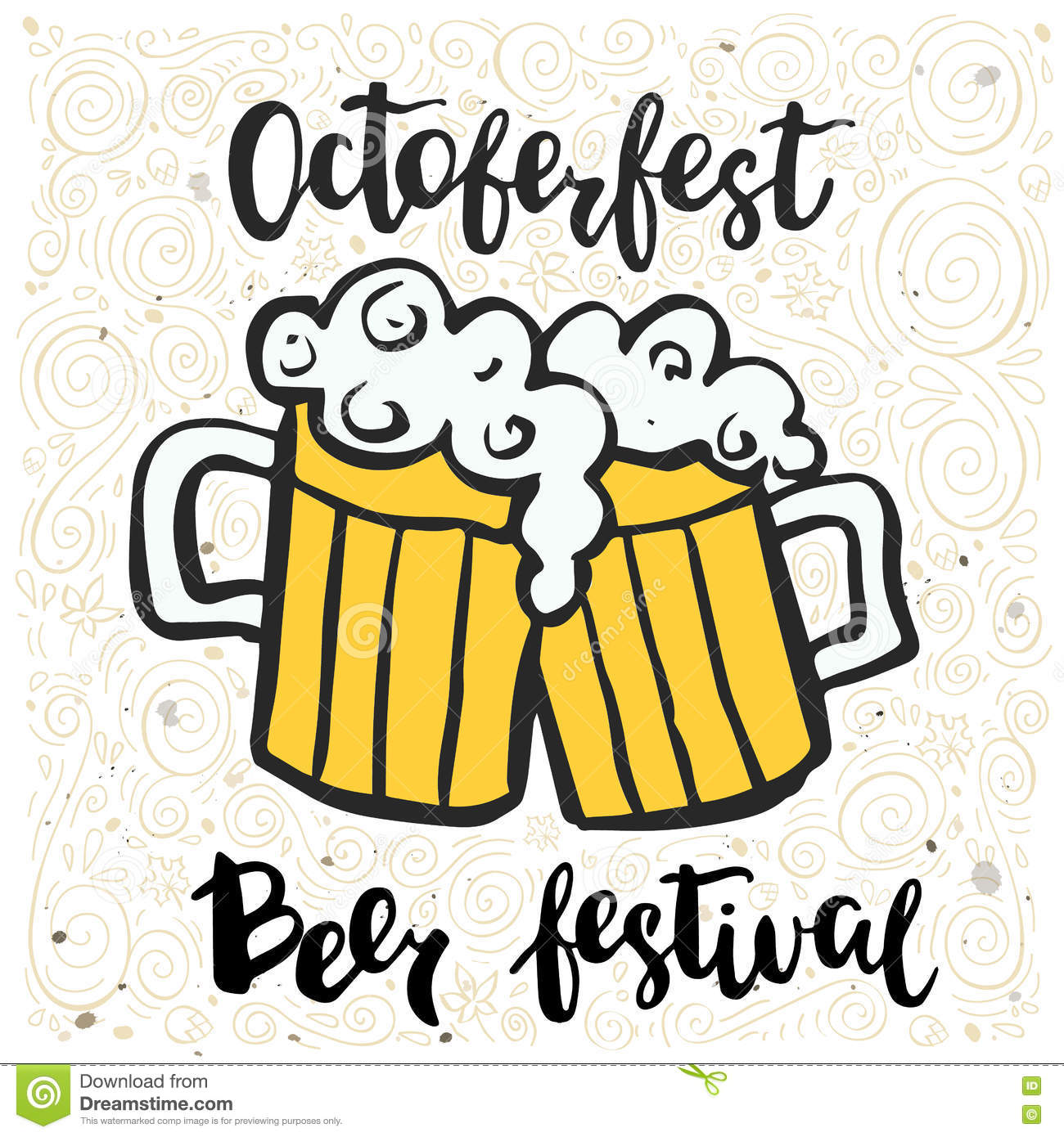 Vector illustration with two beer mugs and an inscription Octoberfest festival.