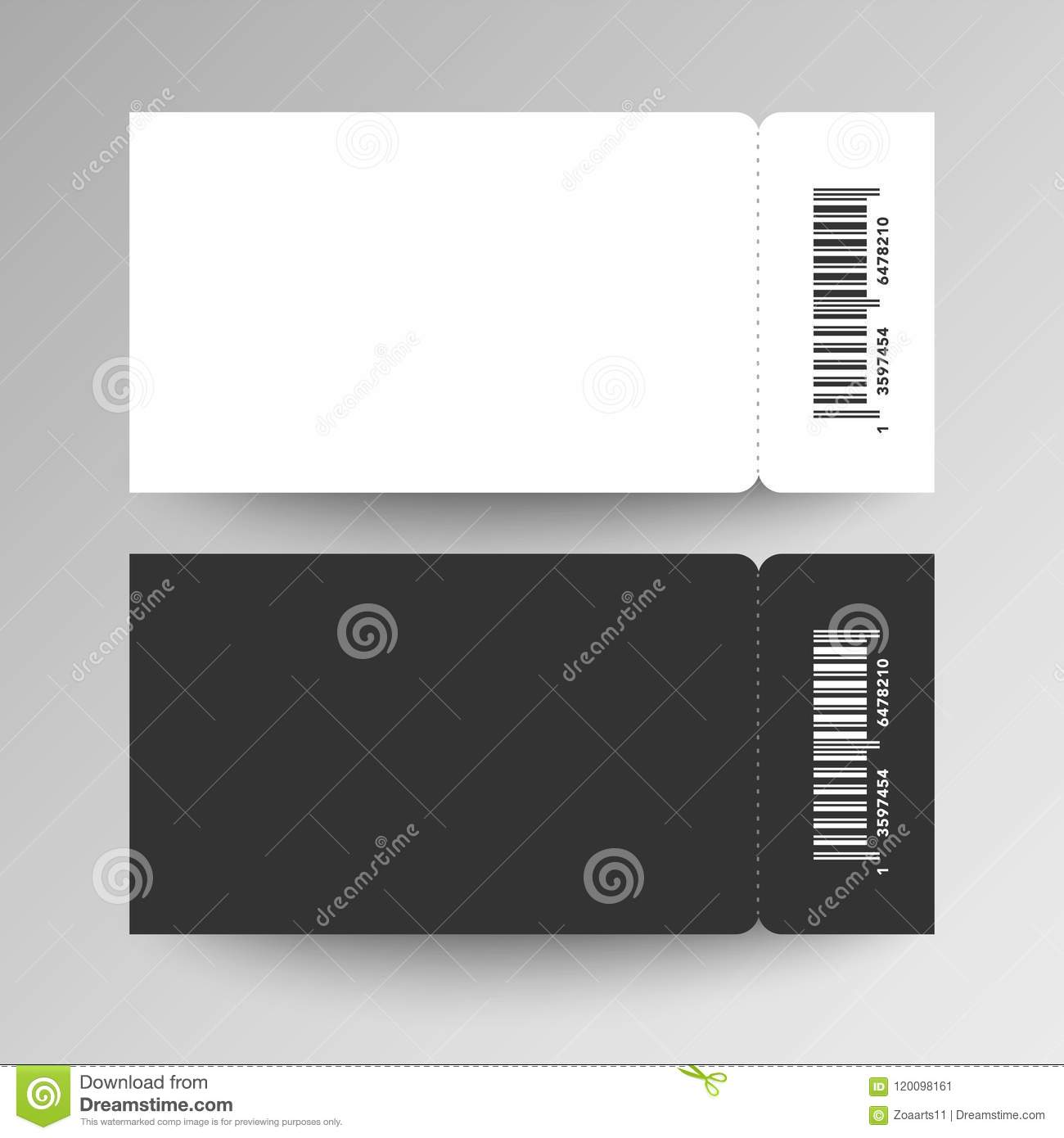 Vector Illustration Tow Blank Festival Concert Event Ticket Template With Bar Code