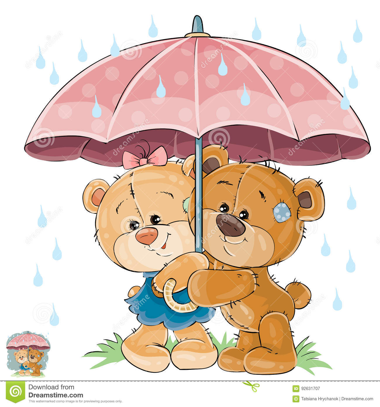 vector illustration of two brown teddy bear boy and hiding