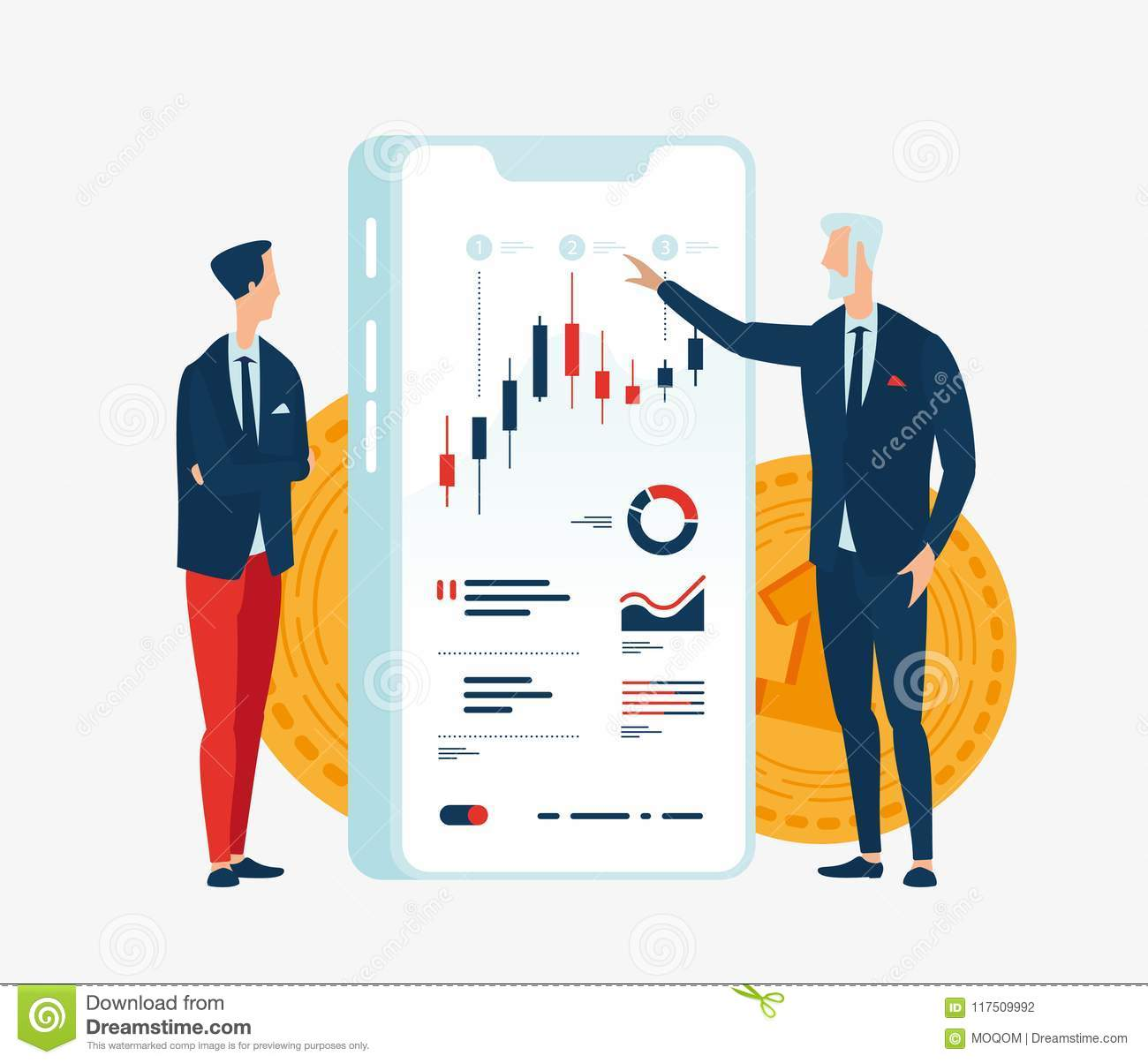 Vector illustration of two businessmen financiers in front of the screen gadget with graphs of financial indicators.