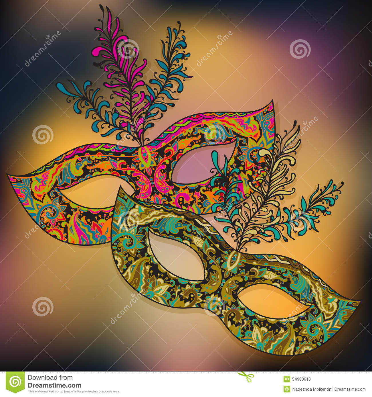 Vector illustration of two floral Venetian carnival masks with f
