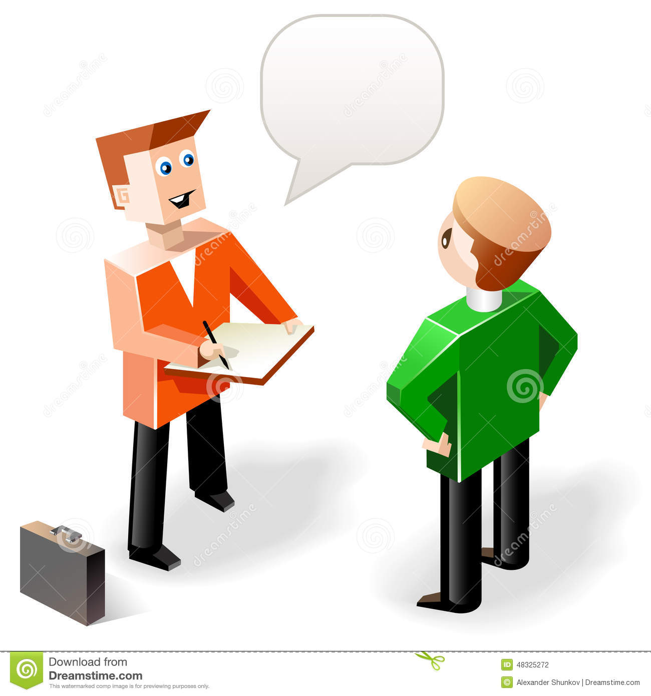 vector illustration two funny speaking men in cubic style stock