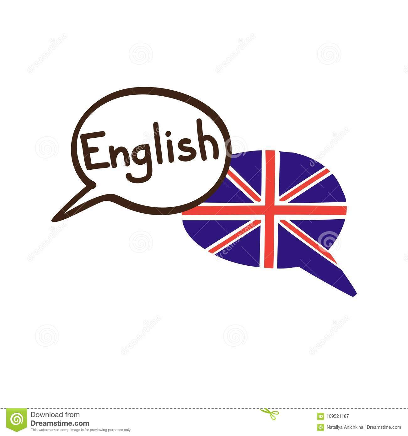Vector Illustration Of English Language With The Flag Of The Uk