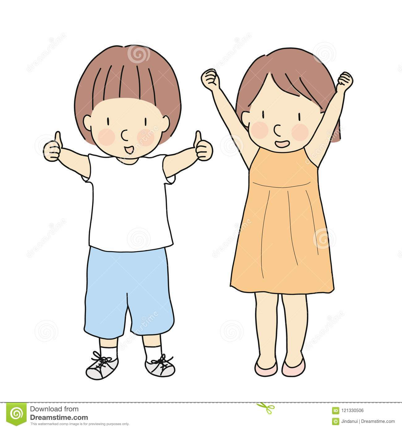 Vector illustration of two kids, boy with thumbs up and girl with raised arms & fits celebrating success. Sign and gesturing