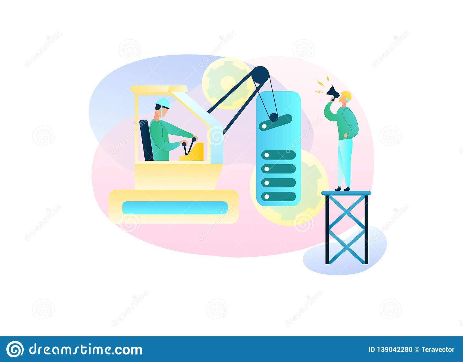 Vector Illustration Two Man Build Site Interface