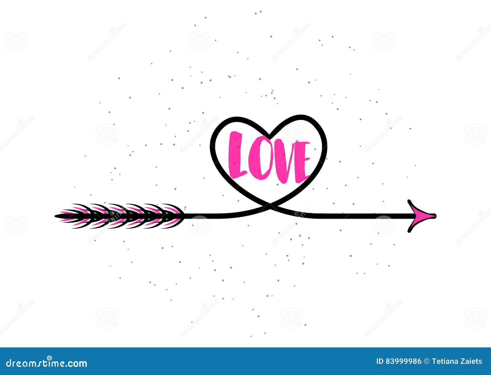 vector illustration of typography word sign love heart arrow stock rh dreamstime com vector arrow word Vintage Arrow Vector