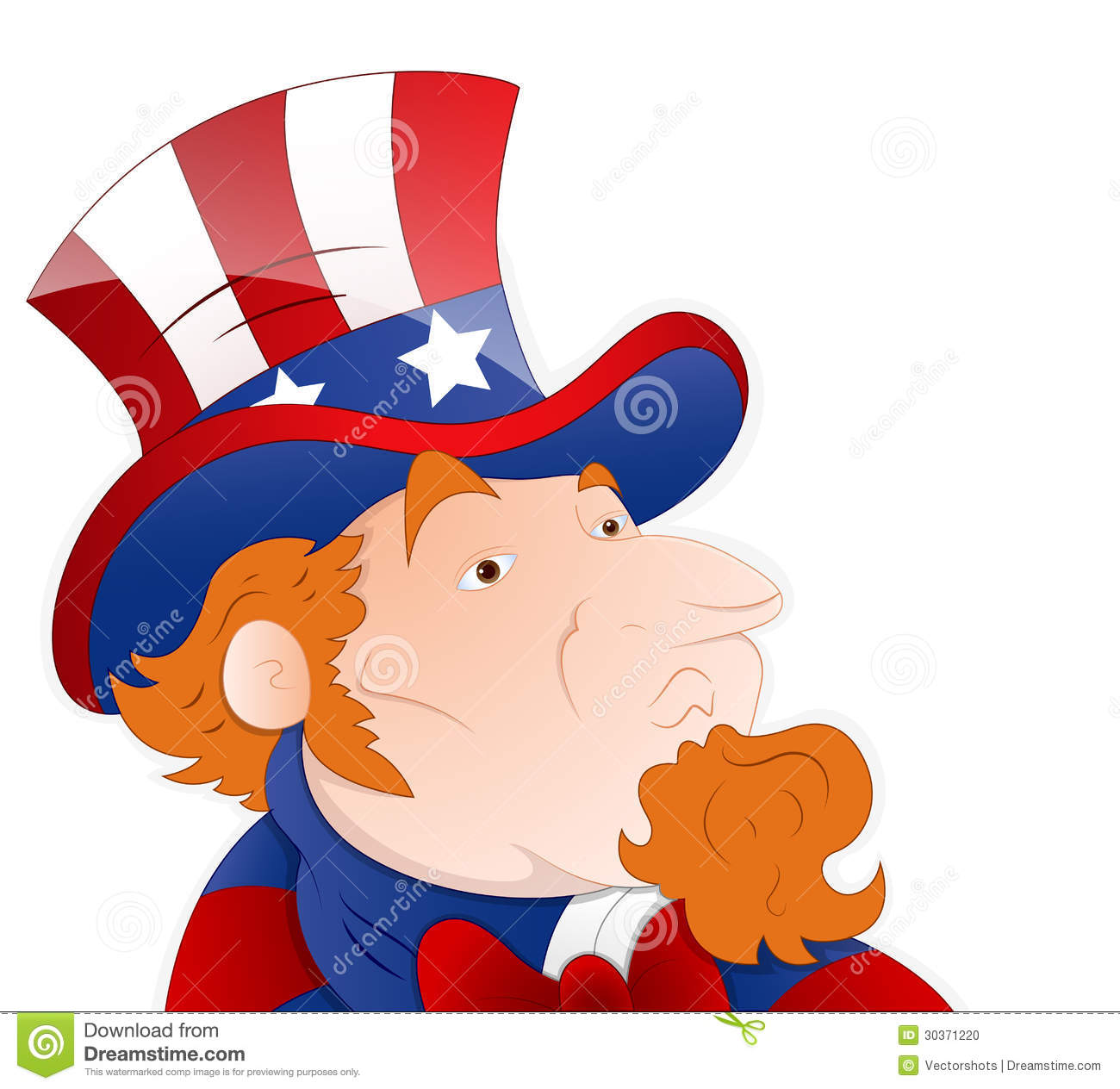 Close Up Characters Cartoon 01 : Vector illustration of uncle sam stock photo image