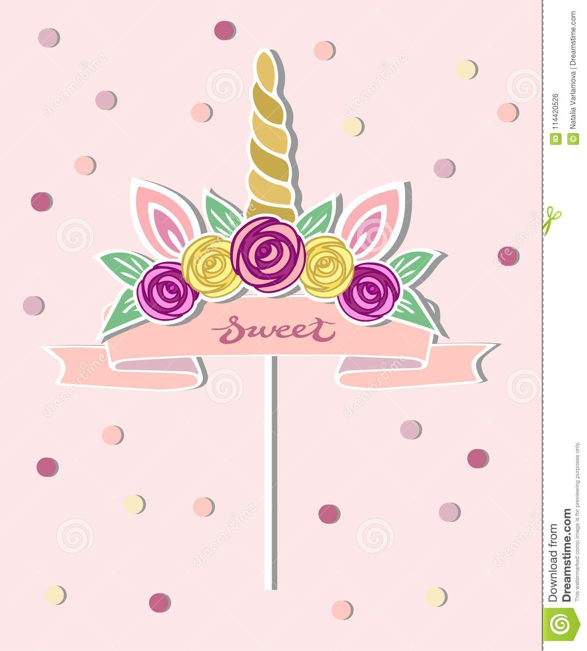 Vector Illustration With Unicorn Horn Ears Flower Wreath Pink Ribbon As Topper Patch Sticker Or Decoration For Baby Birthday
