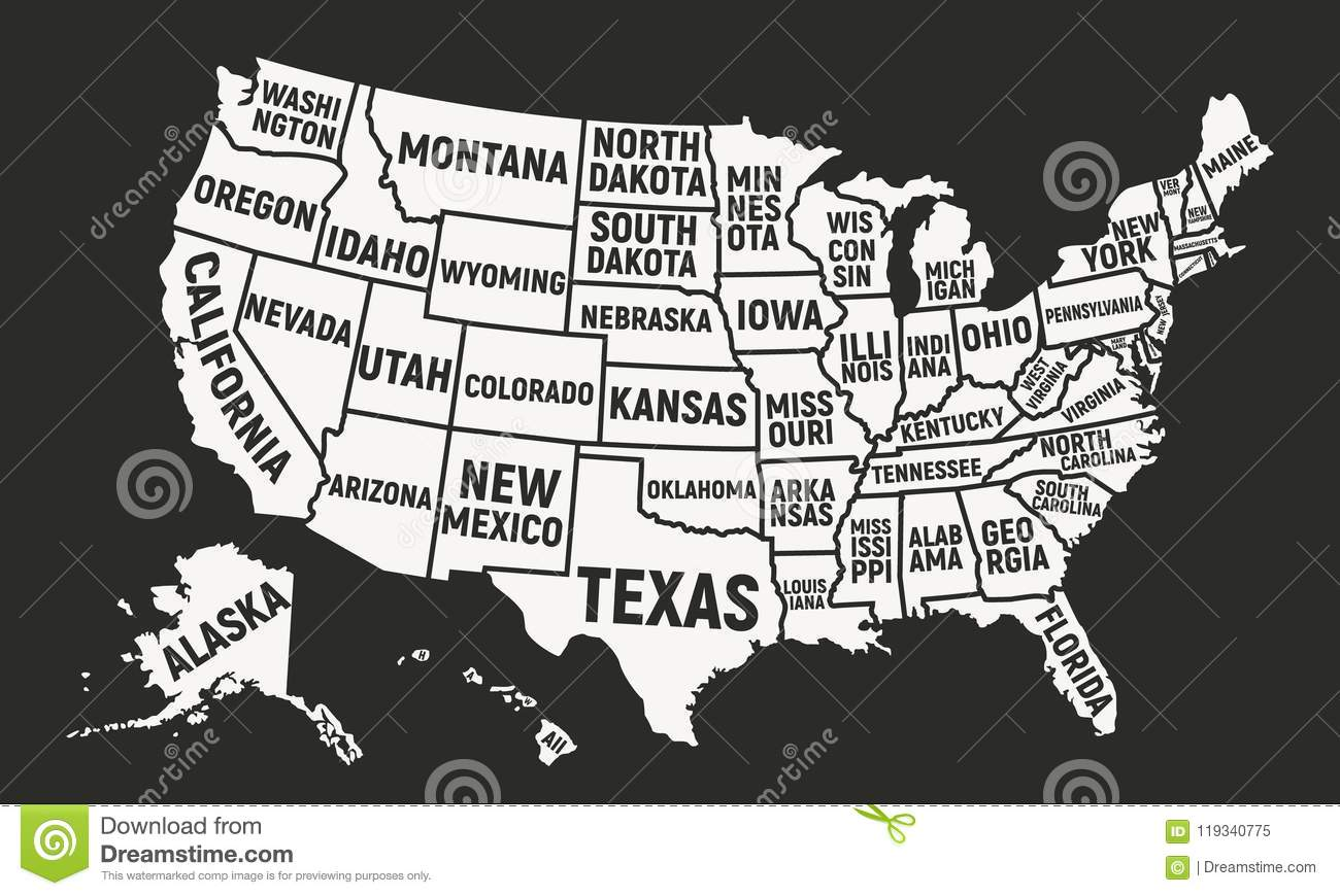 United States Of America Map With State Names. USA Background ...