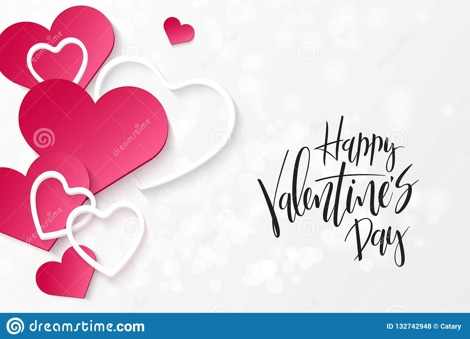 Vector Illustration Of Valentine S Day Greetings Card Template With