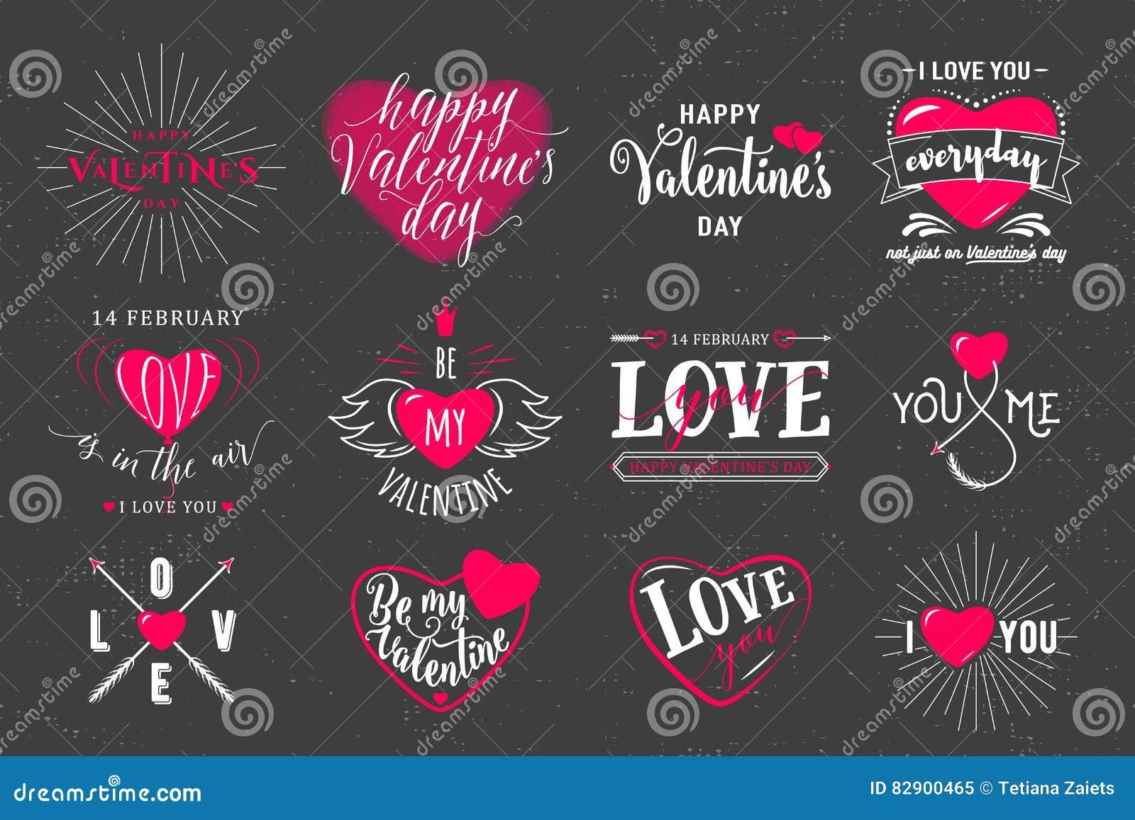Vector illustration of valentines day typography lettering logo set