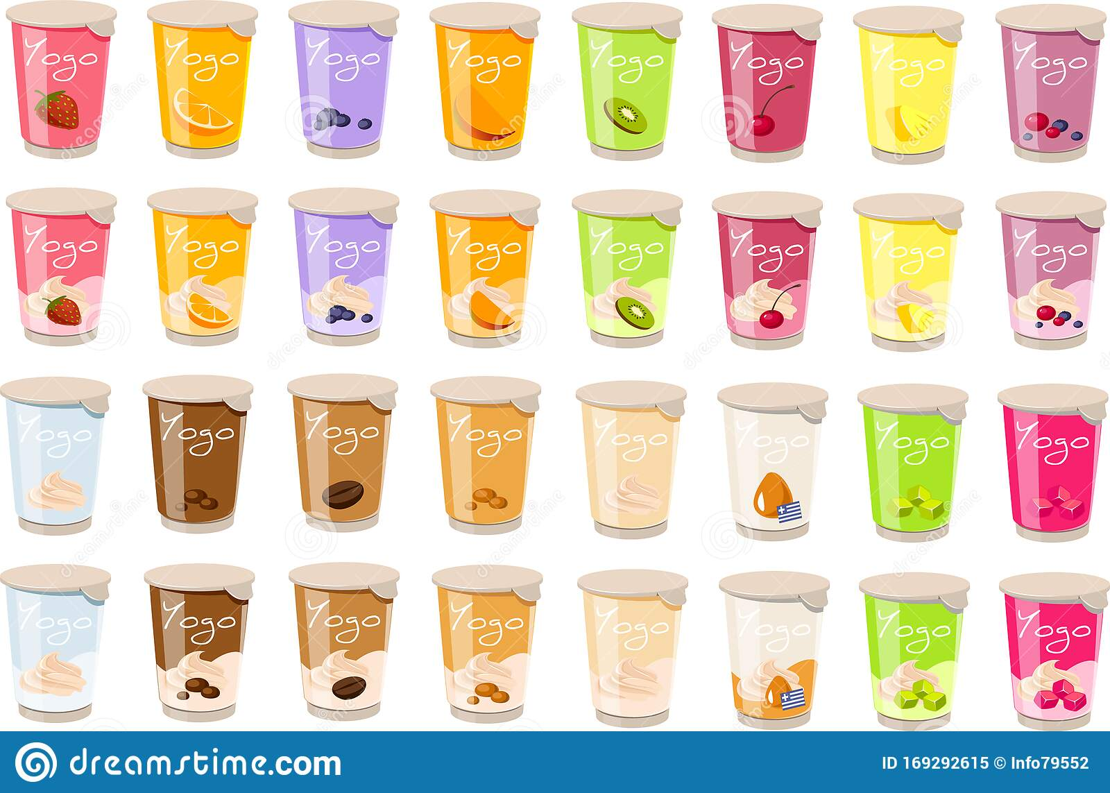 Vector Illustration Of Various Kinds Of Yogurt In Plastic Containers Stock Vector Illustration Of Drink Diet 169292615
