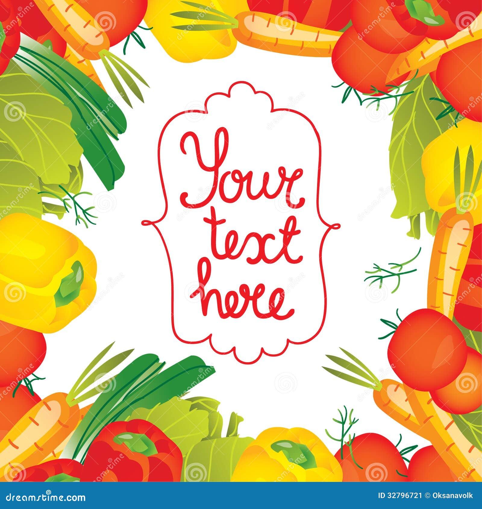 Vector Illustration Vegetables Border Frame Stock Illustration ...