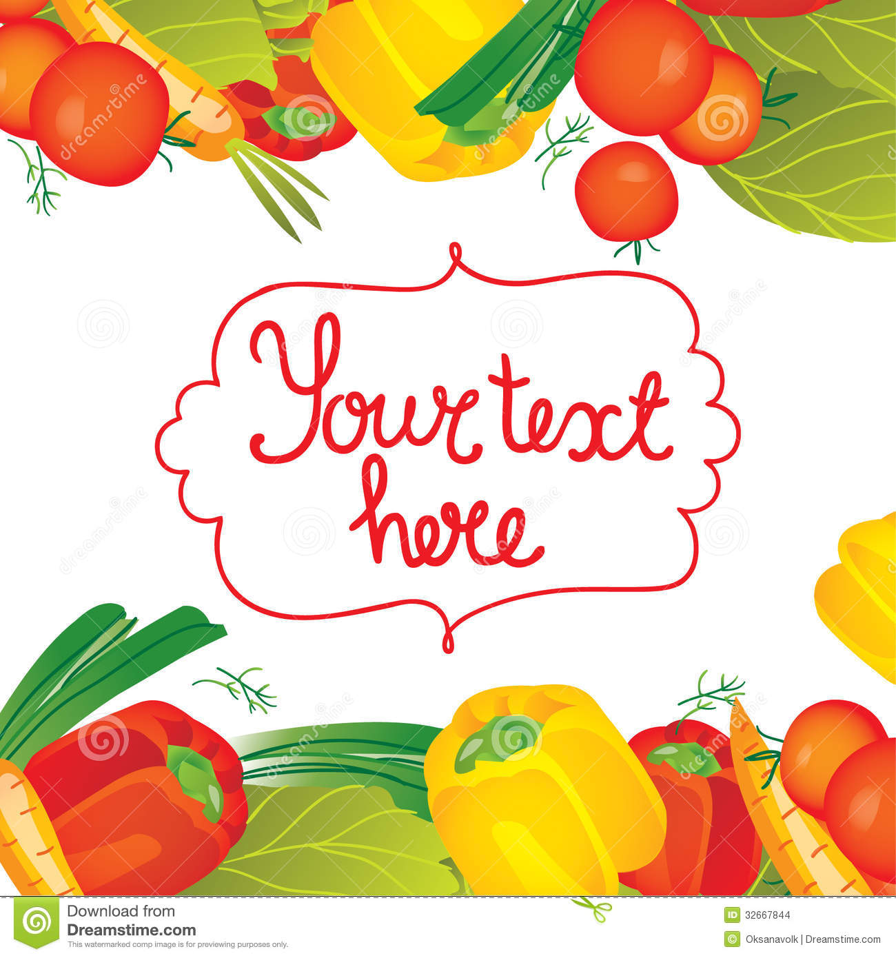 Vector Illustration Vegetables Borders Backdrop Stock ...