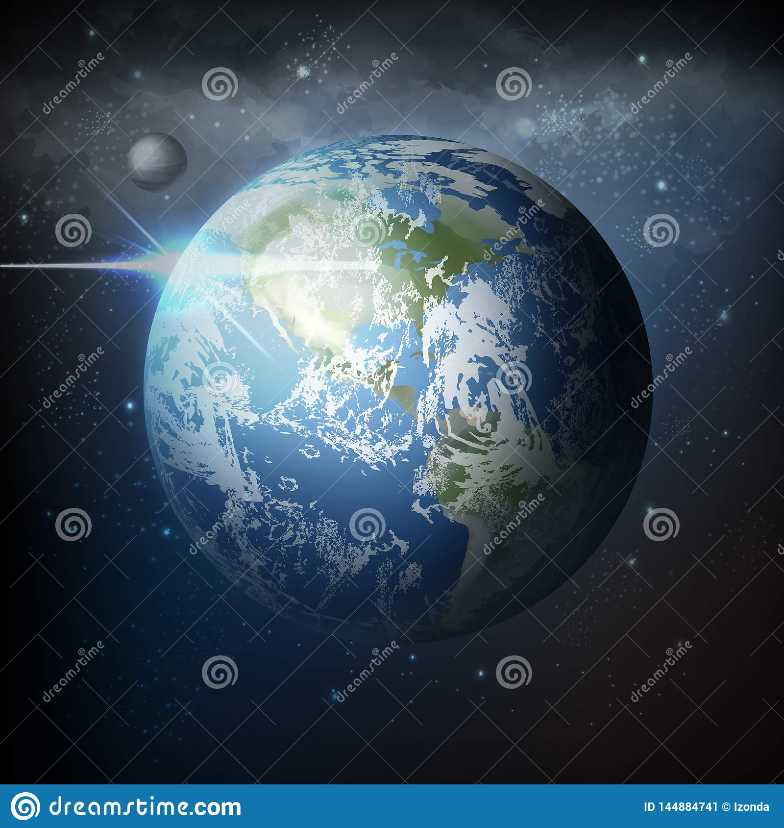 Vector illustration view from space of realistic planet earth with moon in universe with milky way on background