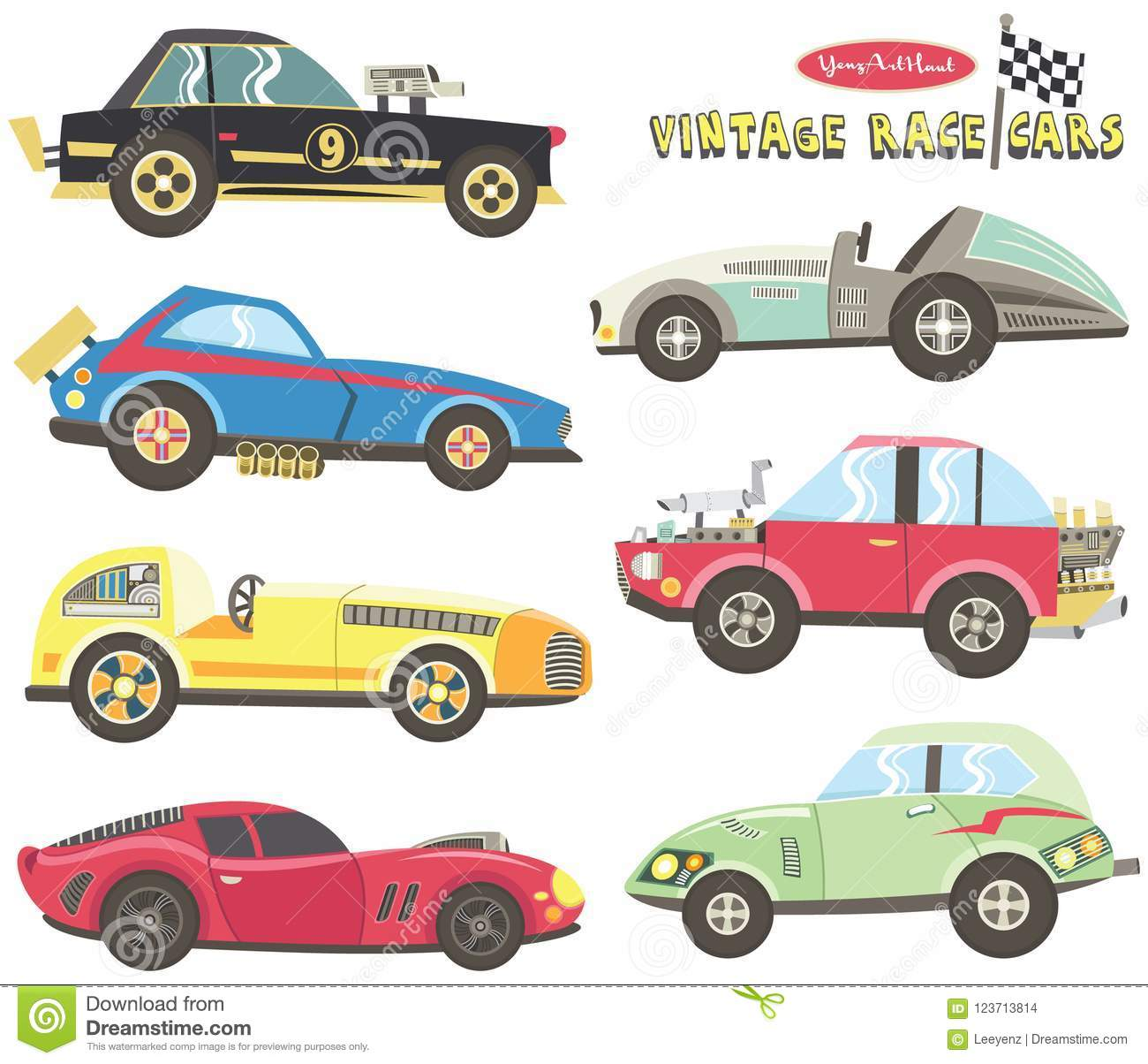 Vintage Race Car Collections Stock Vector Illustration Of Frames Fabric 123713814