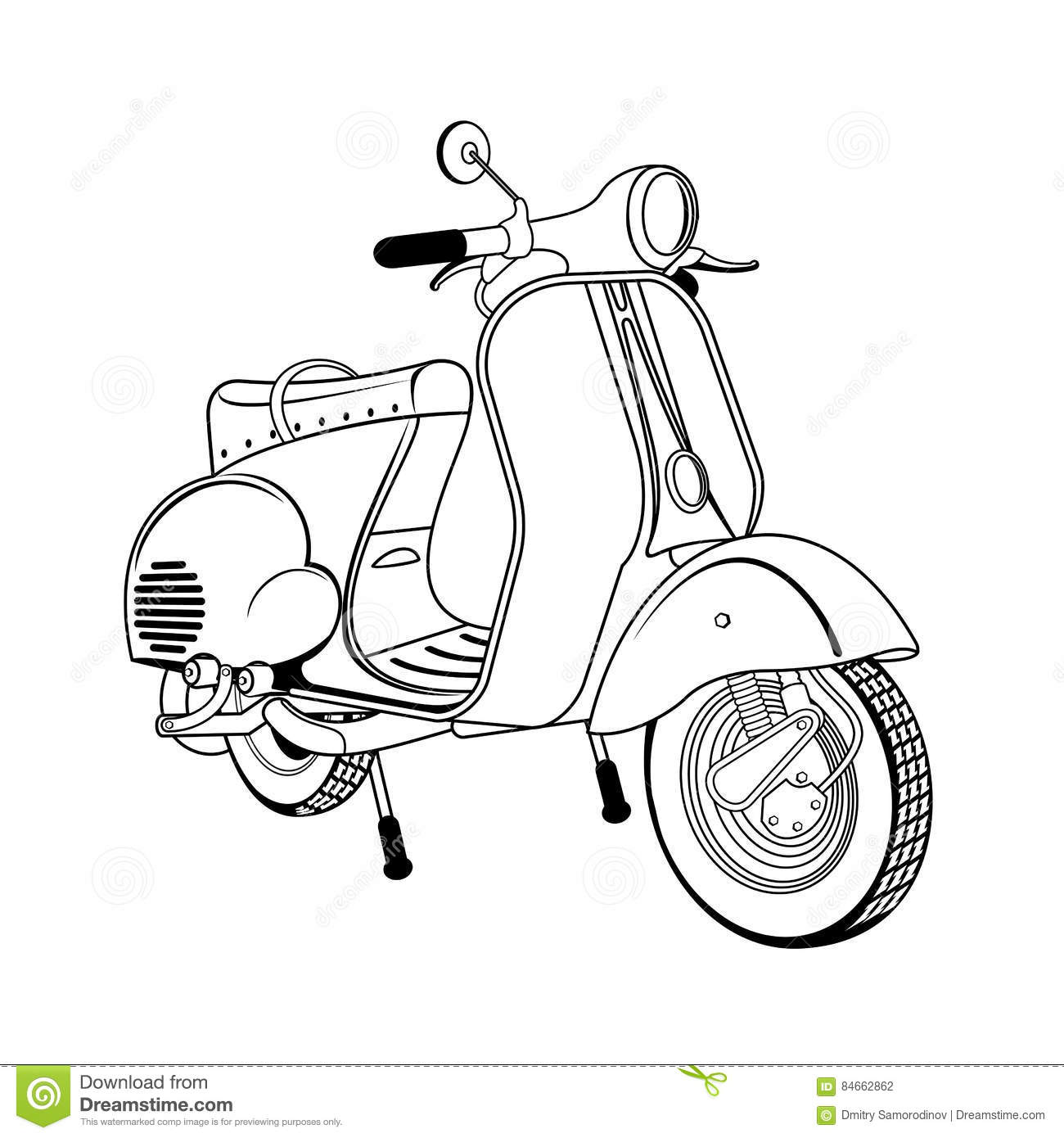 vector illustration of vintage scooter stock illustration