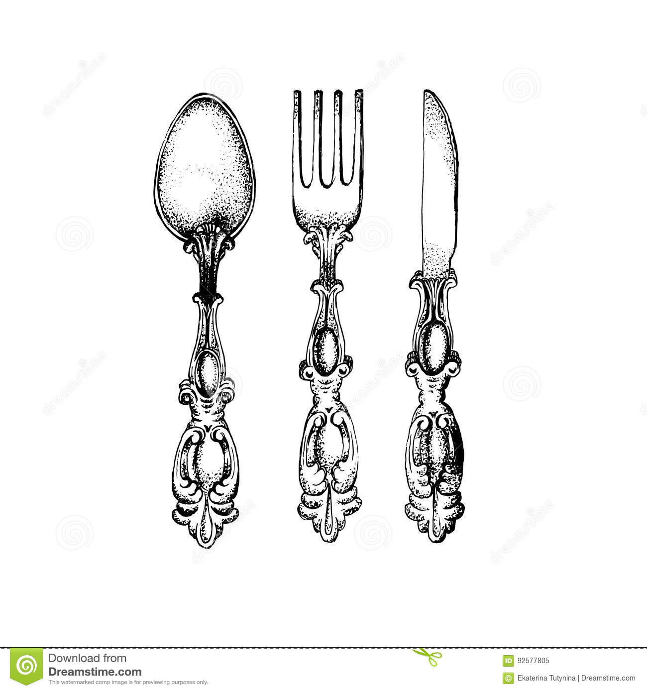 vector illustration of vintage spoon fork and knife stock vector