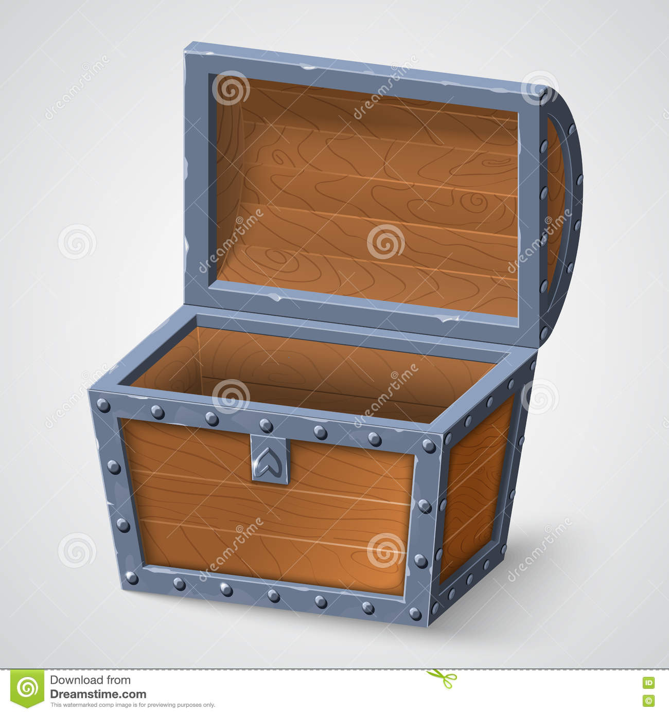 Vector illustration of vintage wooden chest with open cover.
