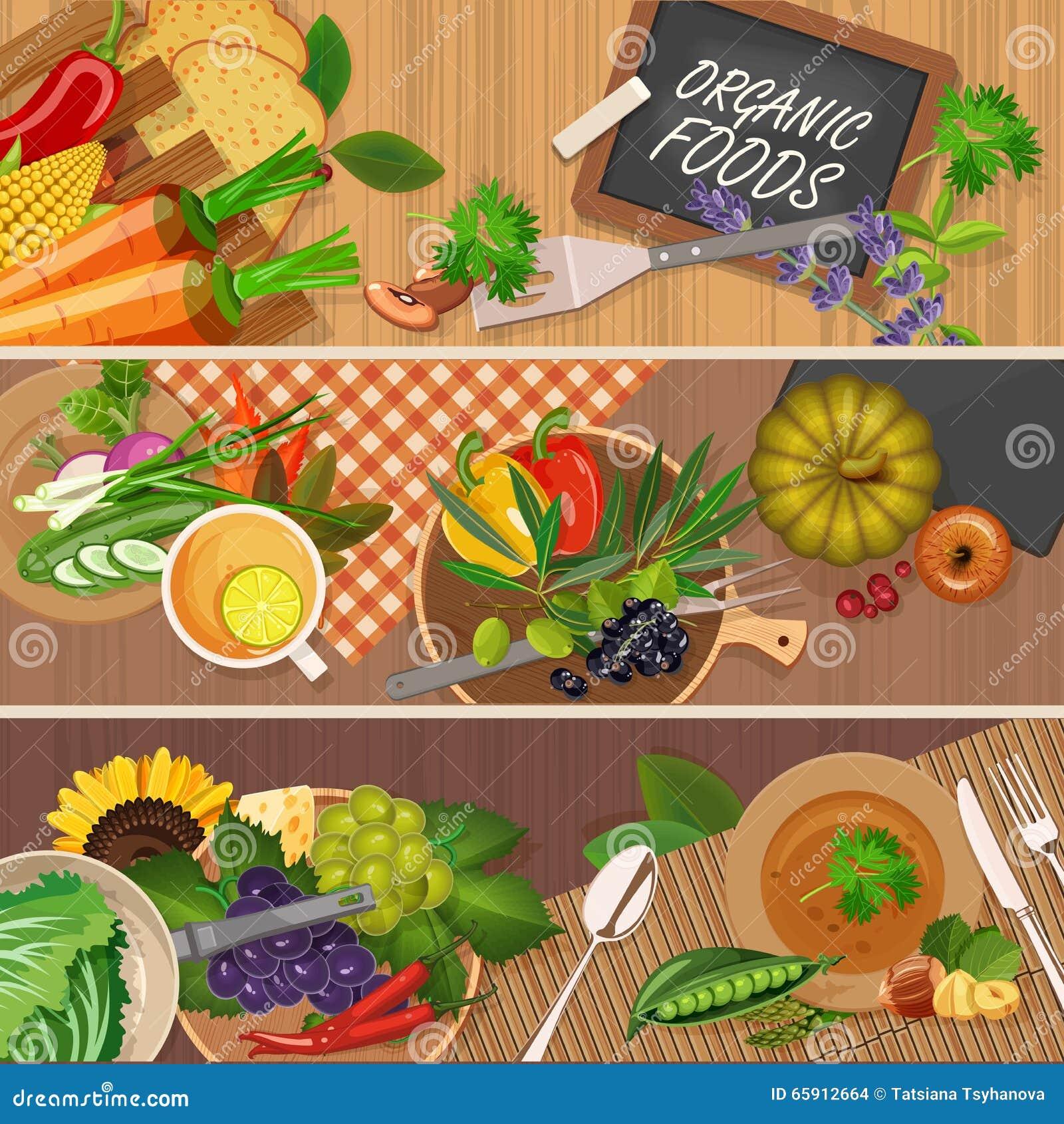 Vector illustration of vitamin groups. Fruit and vegetables set.