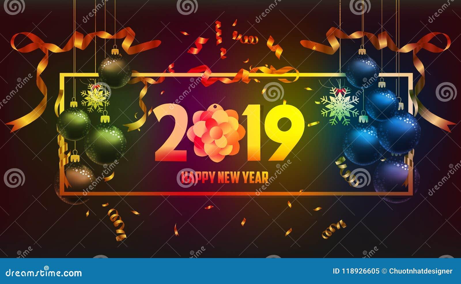 Vector Illustration von guten Rutsch ins Neue Jahr-Gold 2019 und von schwarzem Farbplatz für Textweihnachtsbälle