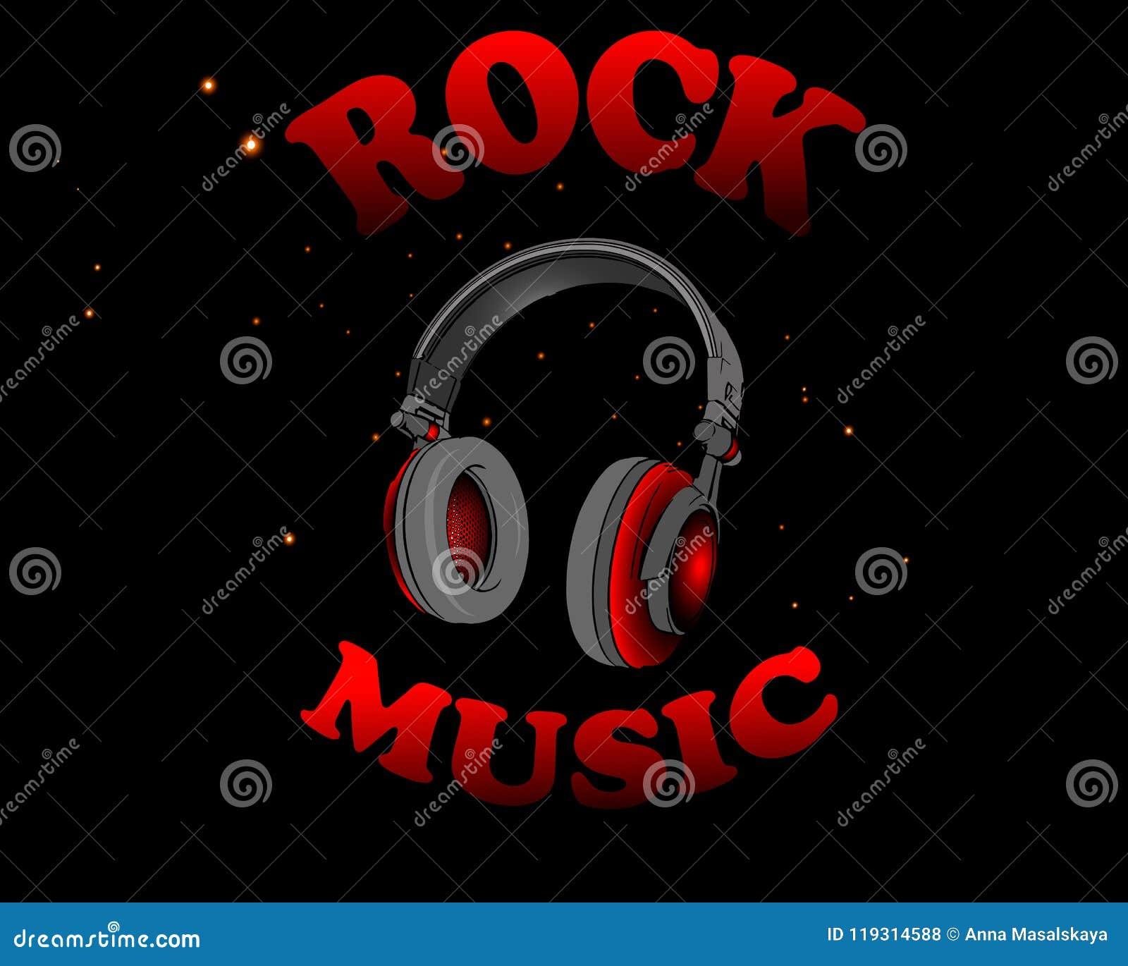 Vector Illustration von roten Kopfhörern mit der Wortrockmusik auf einem schwarzen Hintergrund