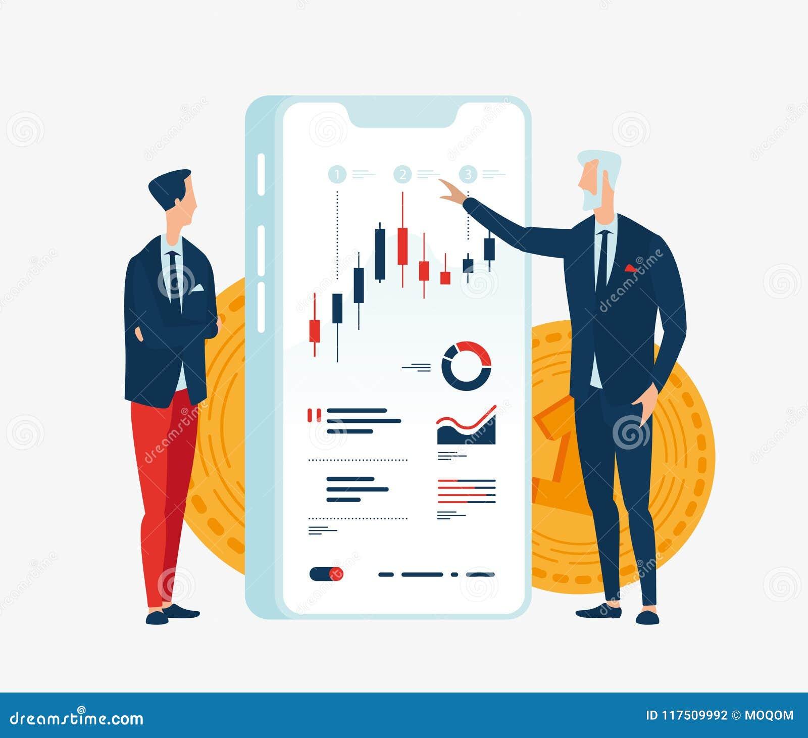 Vector Illustration von zwei Geschäftsmannfinanzieren vor dem Schirmgerät mit Diagrammen von Finanzindikatoren