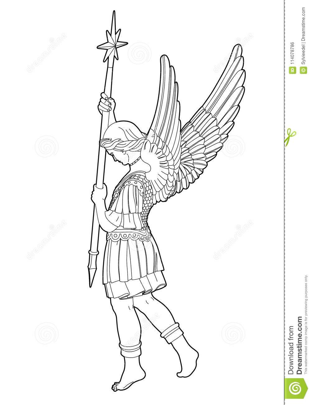 Drawing st michael stock vector illustration of holy for Archangel michael coloring page