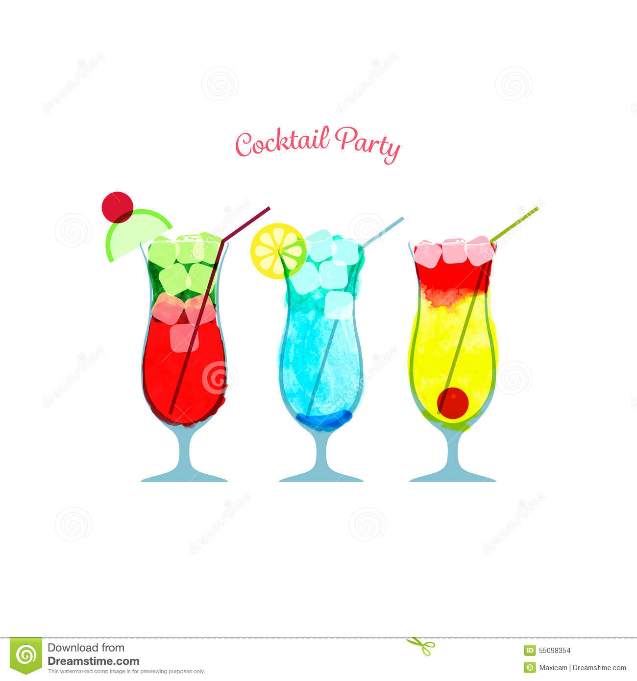 Vector Illustration Of Watercolor Cocktail Party Poster ...