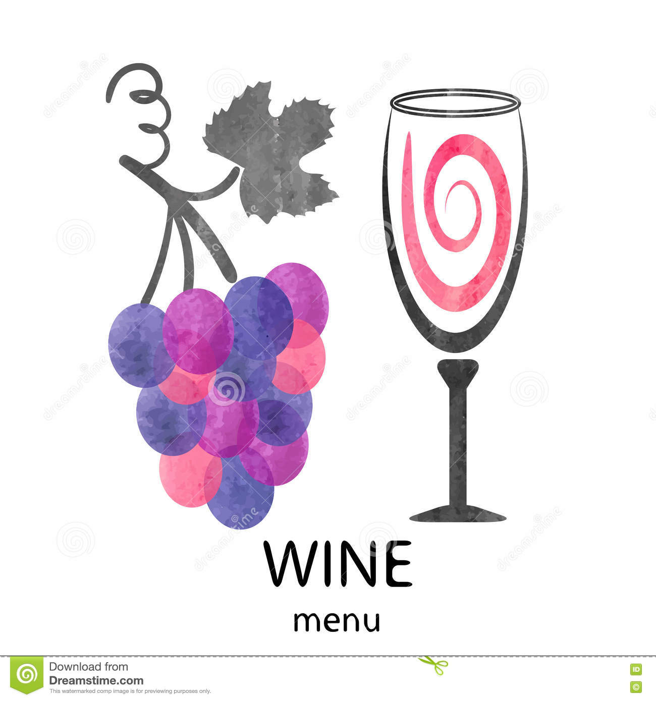 Vector Illustration Of Watercolor Wine Glass And Grapes Stock
