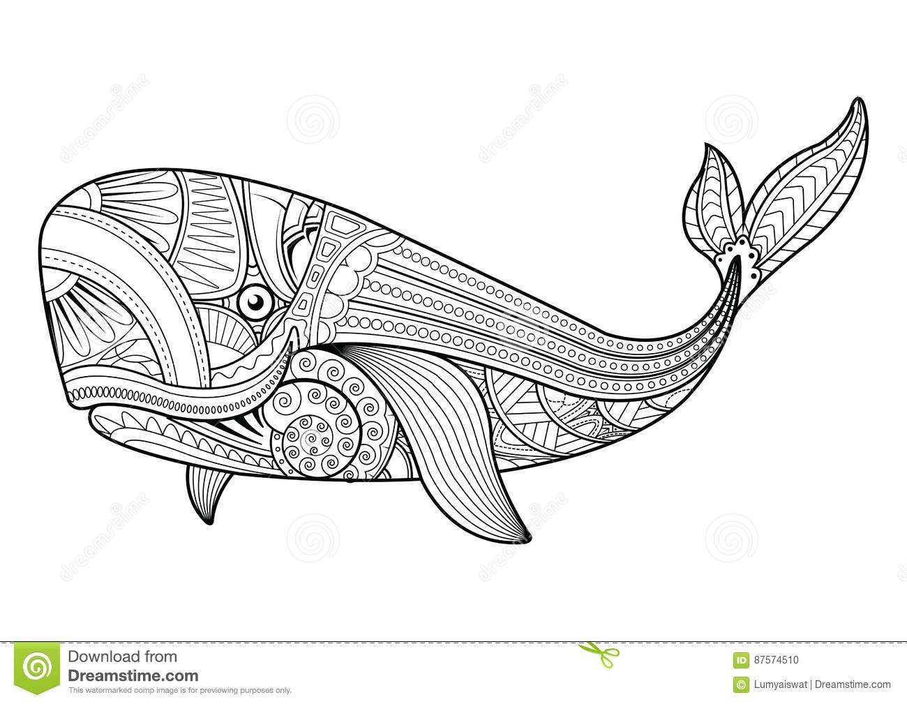 vector illustration of whale coloring pages - Whale Coloring Pages