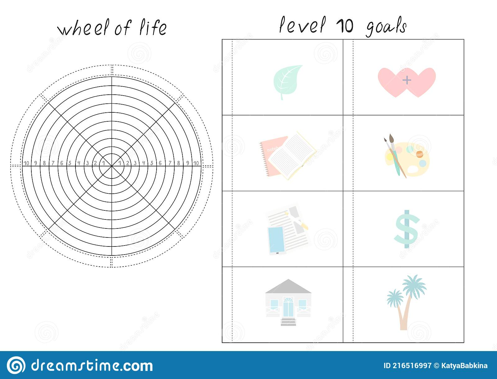 Vector Illustration with Wheel of Life - Diagram with Blank Lines Regarding Blank Wheel Of Life Template