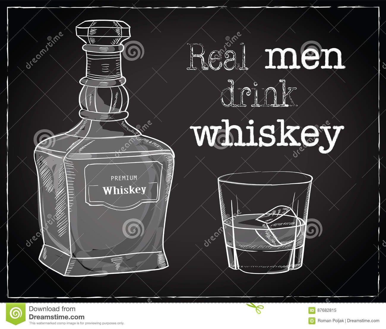 Stock Quotes Free Real Time: Vector Illustration Of Whiskey Bottle And Glass With Ice