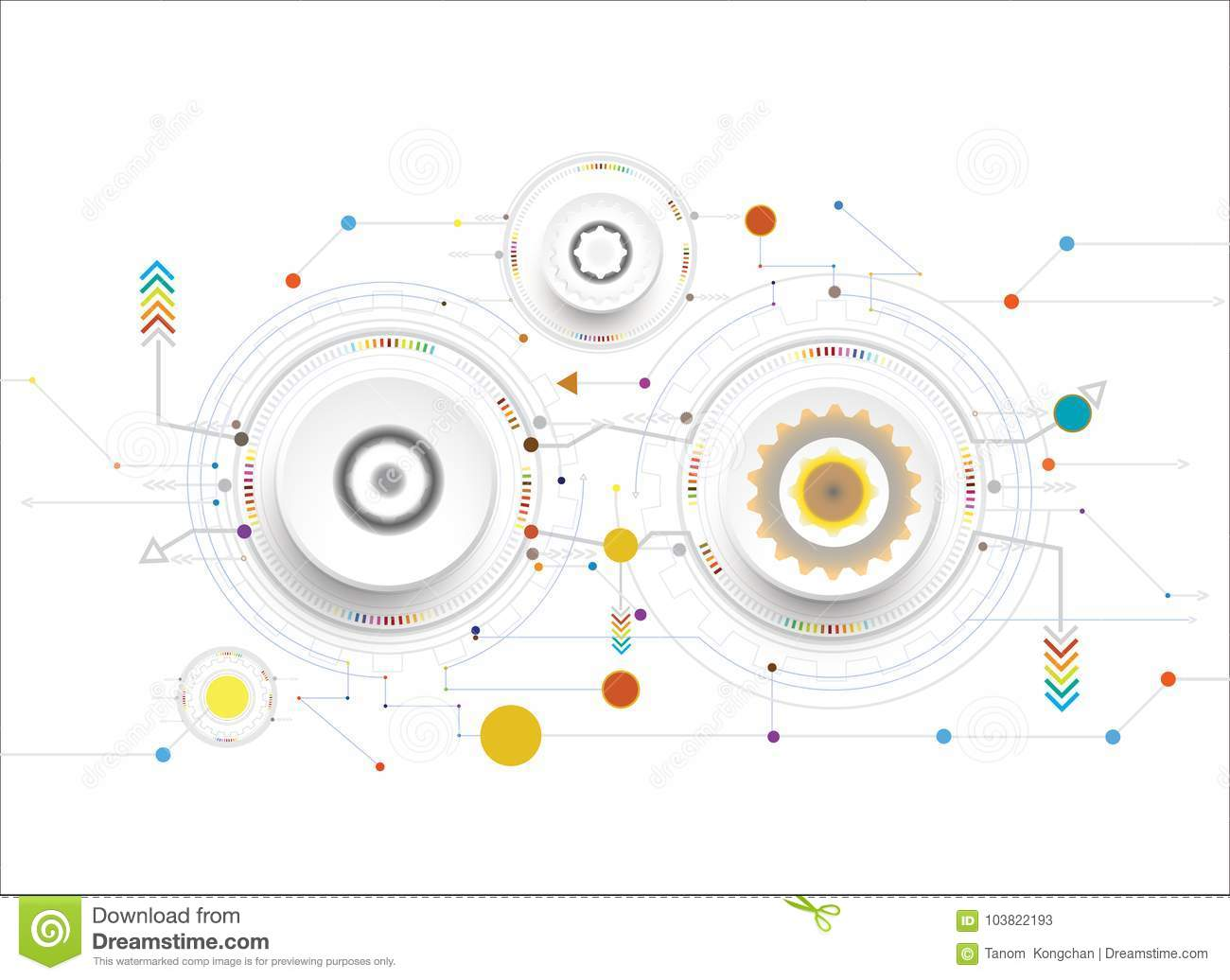 Vector Illustration White Color And Gear Wheel On Circuit Board Diagram