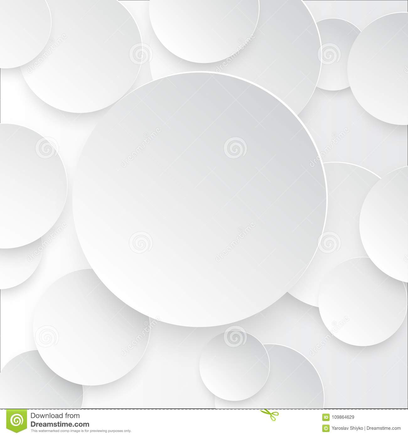 Vector illustration of white paper round notes with shadow