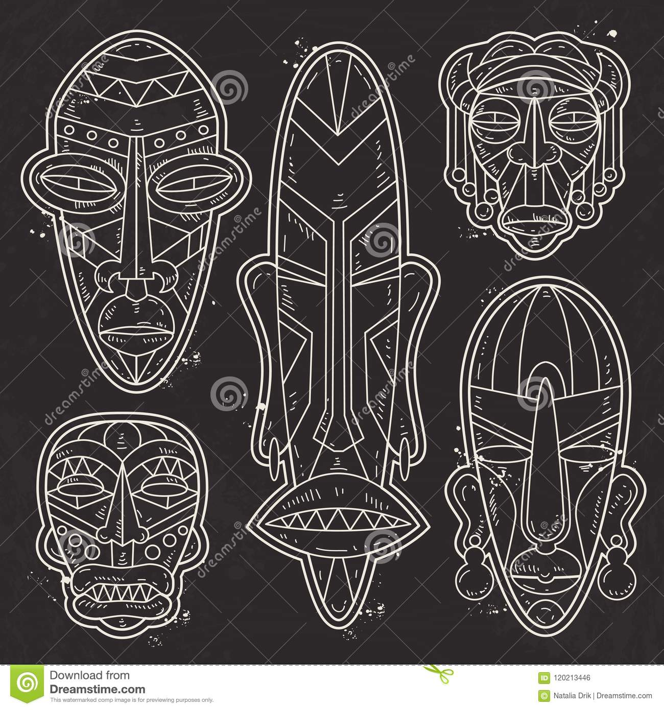 7ebdf9a046010 Vector, White Silhouette, Set Of African Ethnic Tribal Masks, Tattoo ...