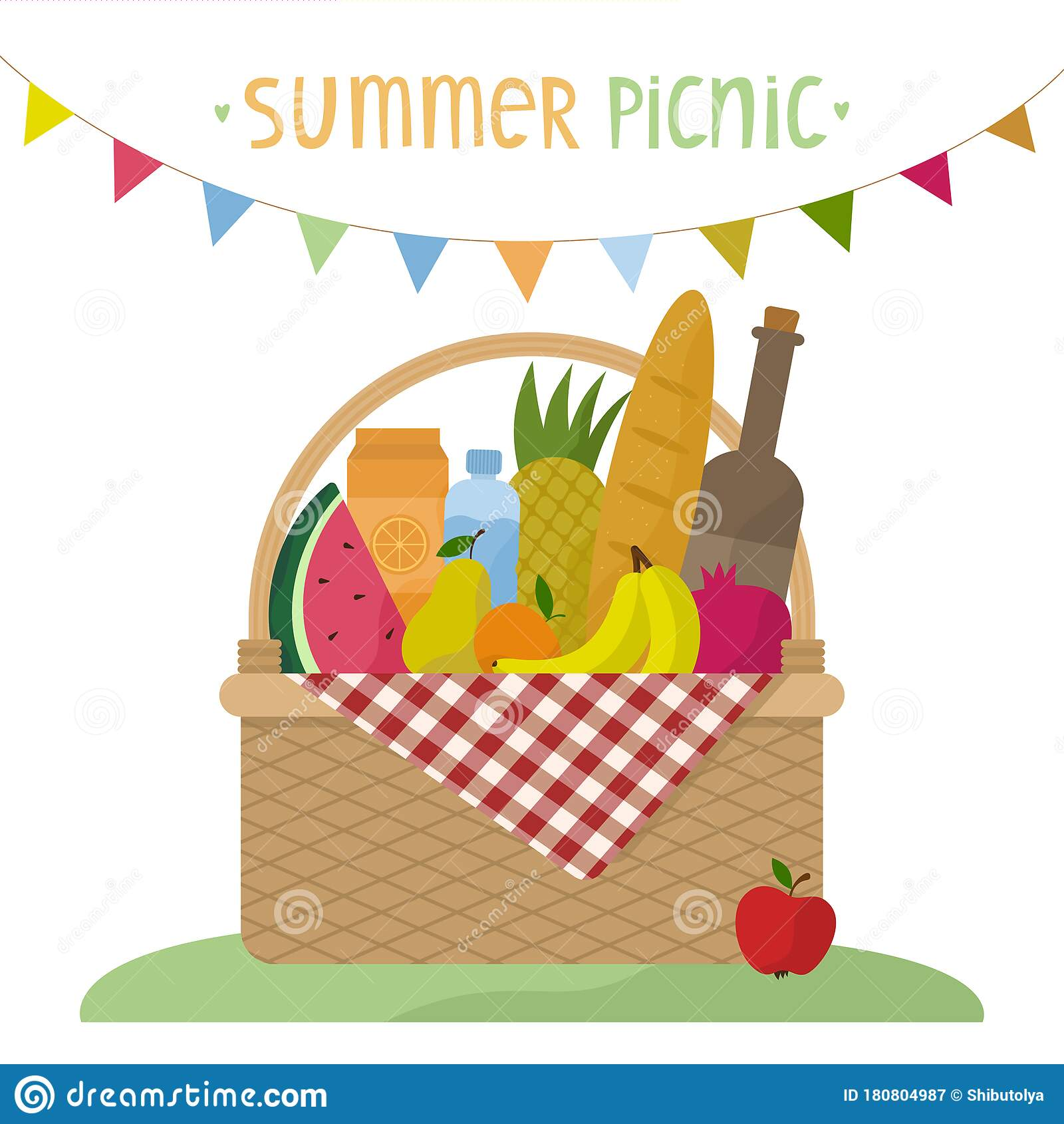 Vector Illustration Of A Wicker Picnic Basket With A Blanket Basket With Food Drinks And A Garland Of Flags Flat Style Stock Vector Illustration Of Drinks Meal 180804987