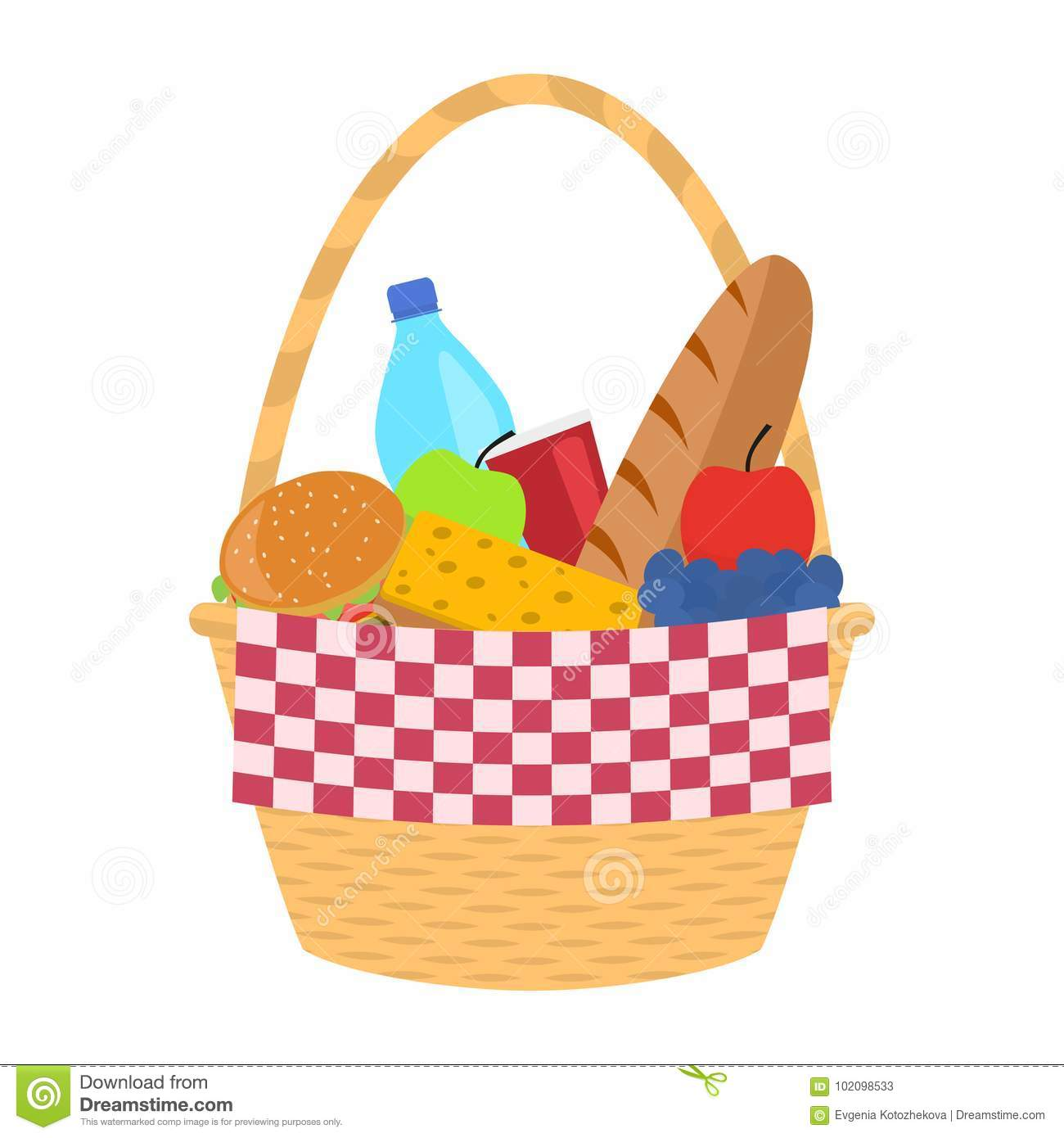 Vector Wicker Picnic Basket With A Blanket Stock Vector Illustration Of Grapes Meal 102098533