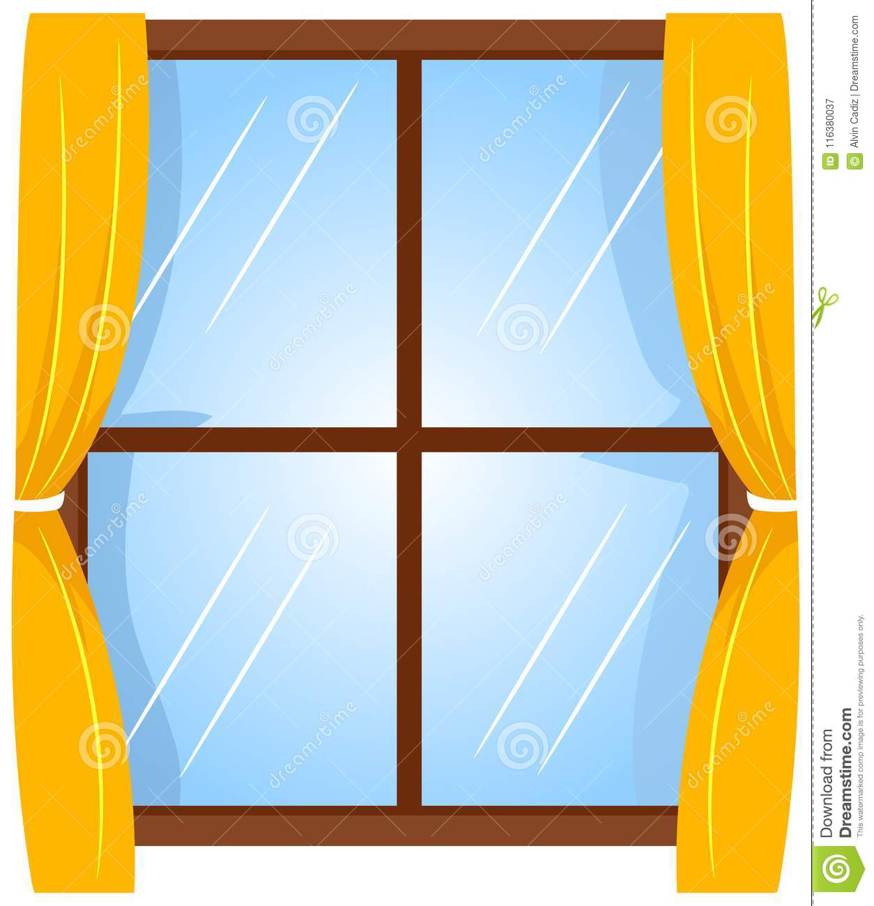 Vector Illustration Of Window With Curtain Stock Vector