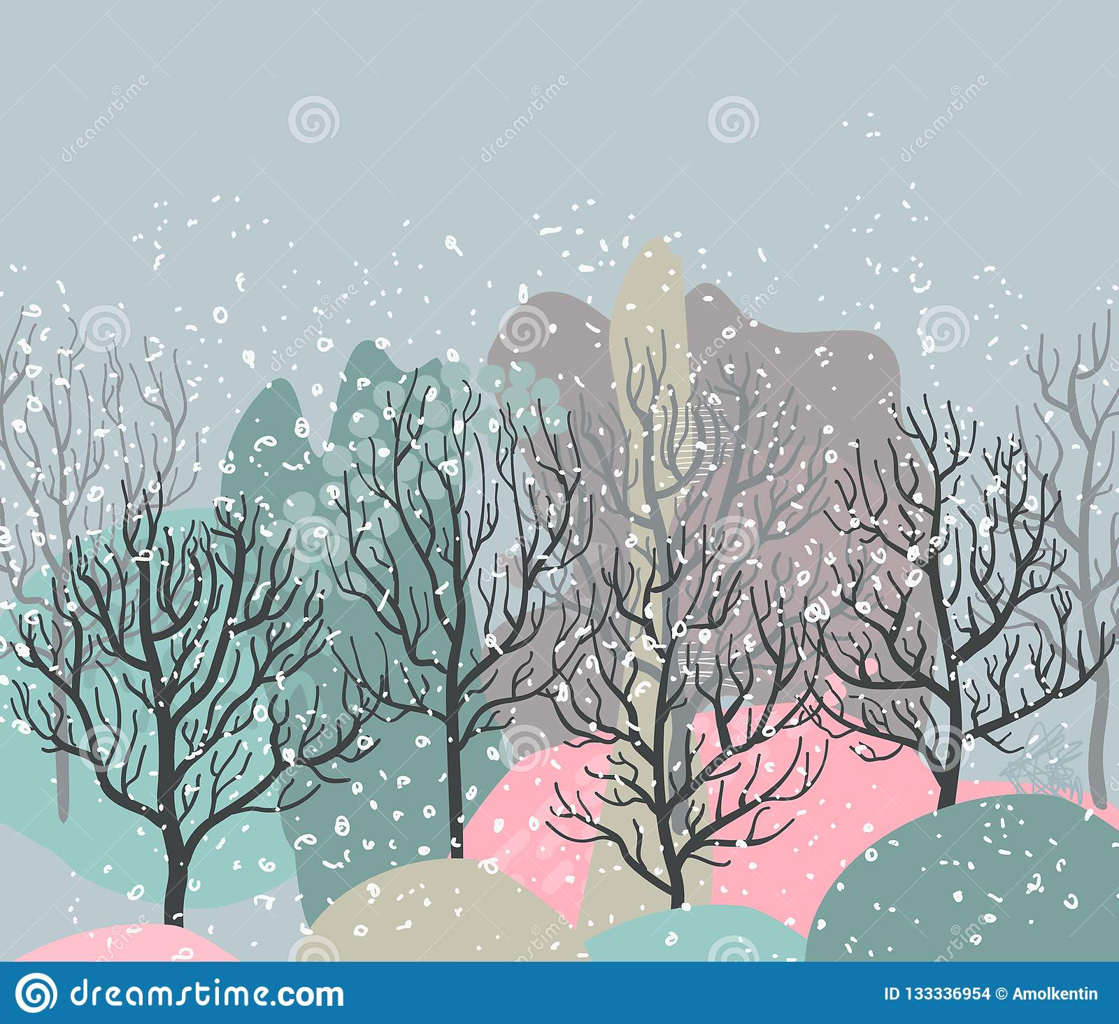 Vector illustration with winter forest, abstract texture