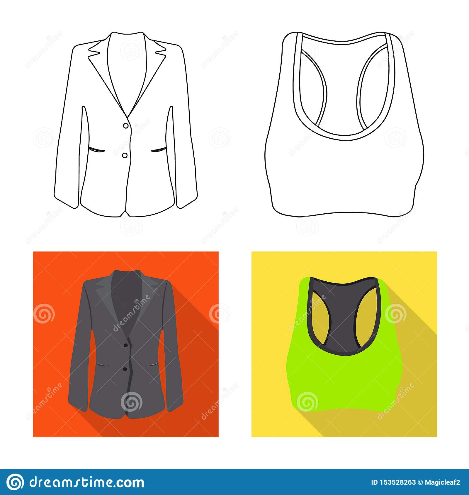 Vector design of woman and clothing logo. Set of woman and wear stock vector illustration.