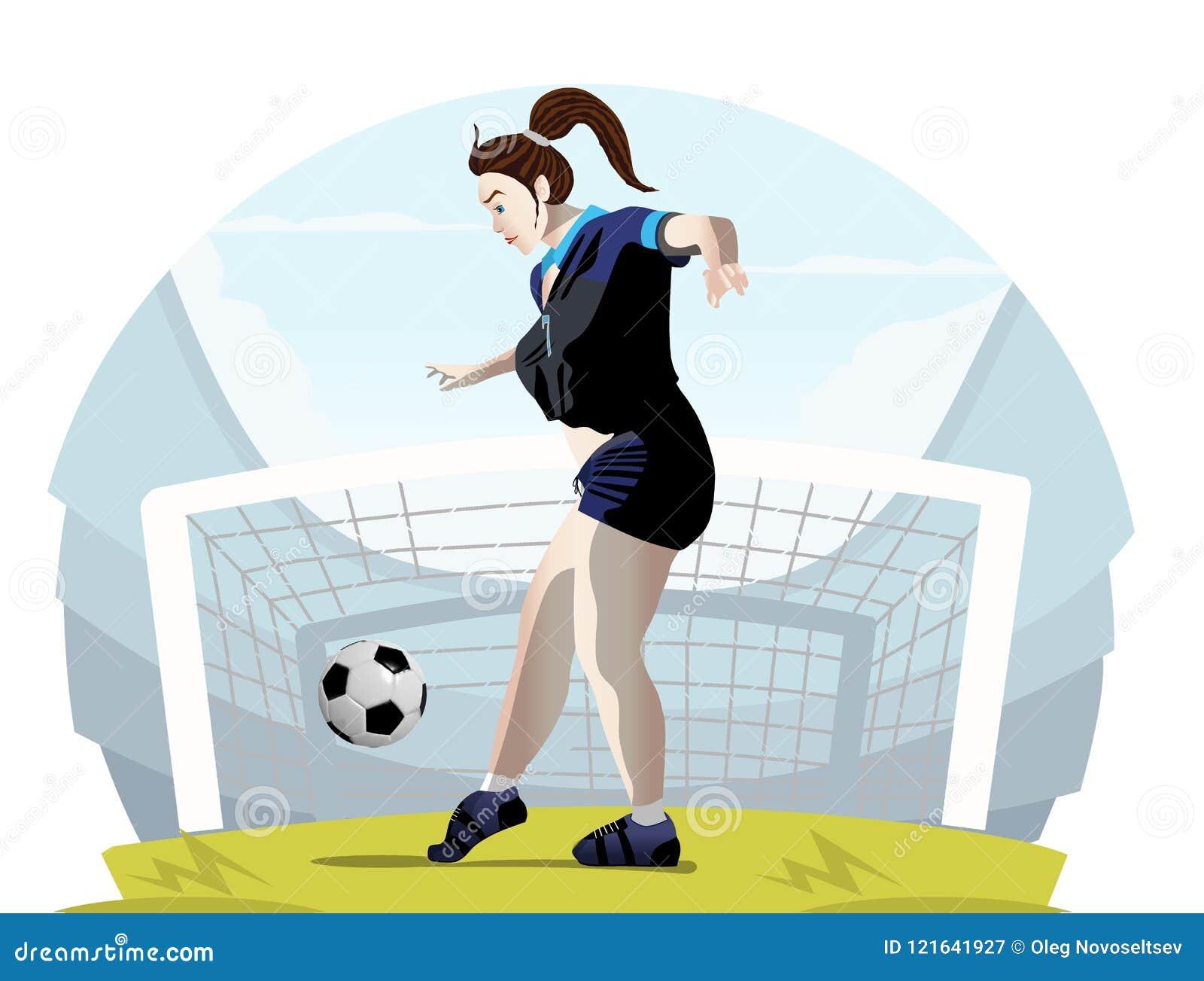 Vektor illustration af en kvinde fodboldspiller Stock Vector - illustration af League-9437