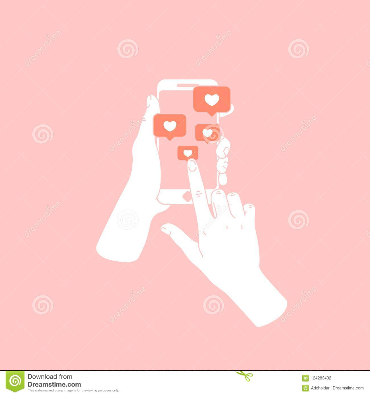 Woman hand holding smartphone. New messages and likes. Social media notifications. Vector illustration