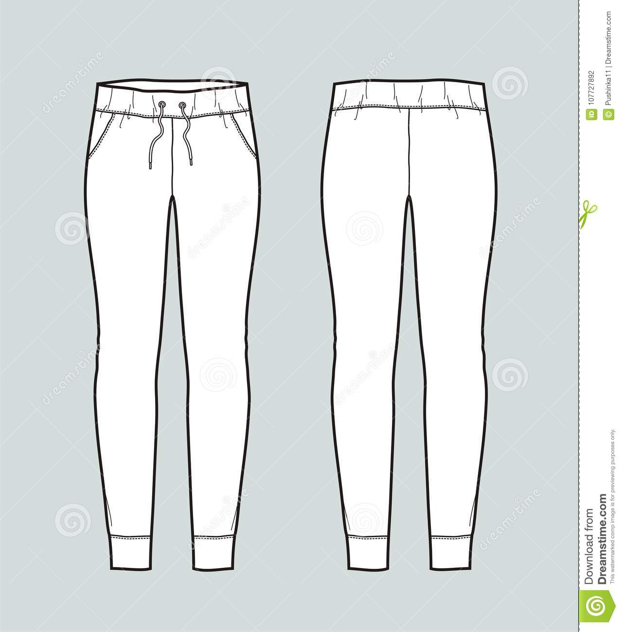 a0d32d3ddf0588 Pants stock vector. Illustration of jogger, lady, drawing - 107727892