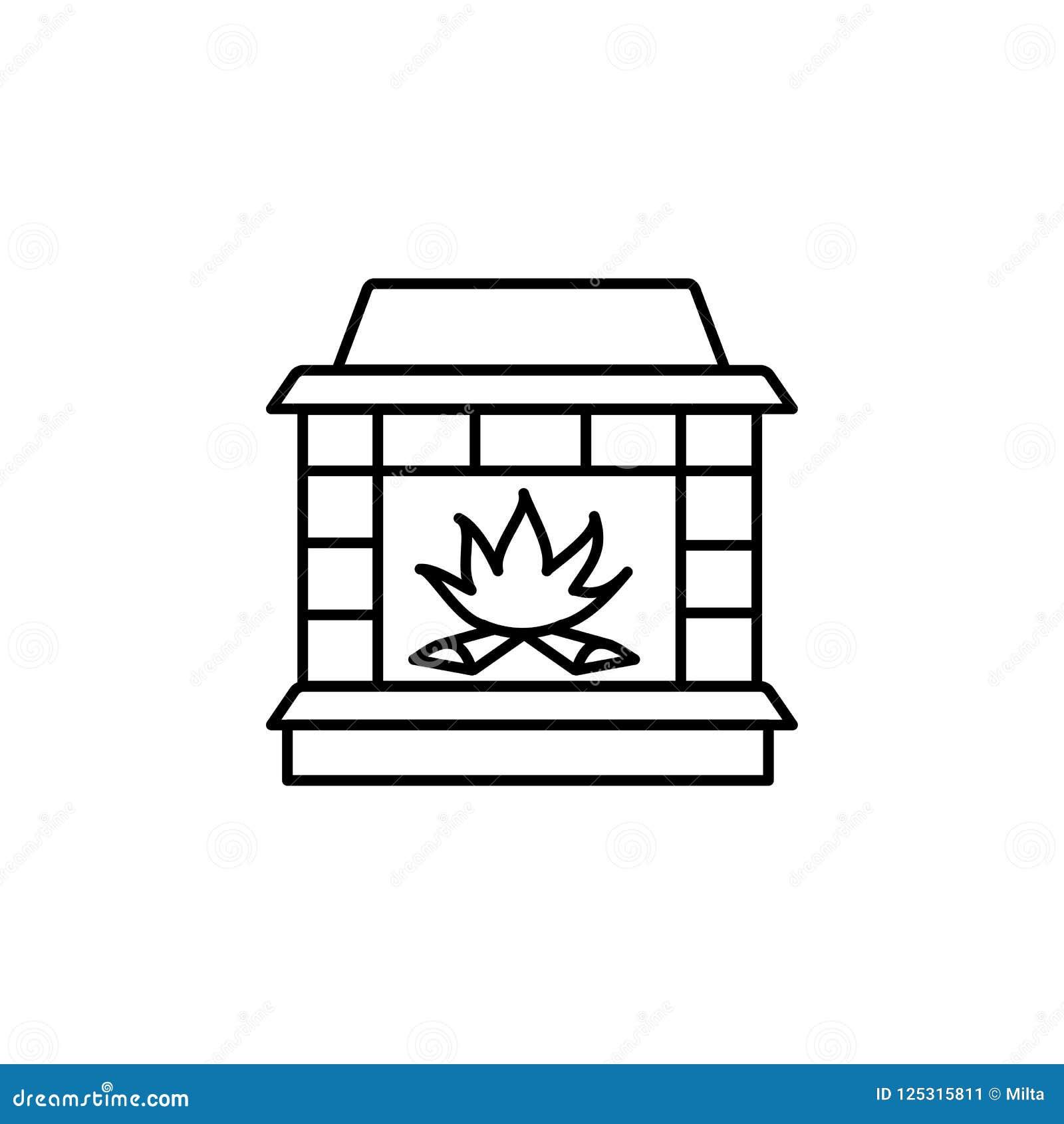 Strange Vector Illustration Of Wood Burning Fireplace Line Icon Of Home Interior And Landscaping Palasignezvosmurscom